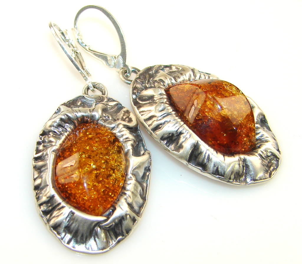 Image of Classy style Of Golden Amber Sterling Silver earrings
