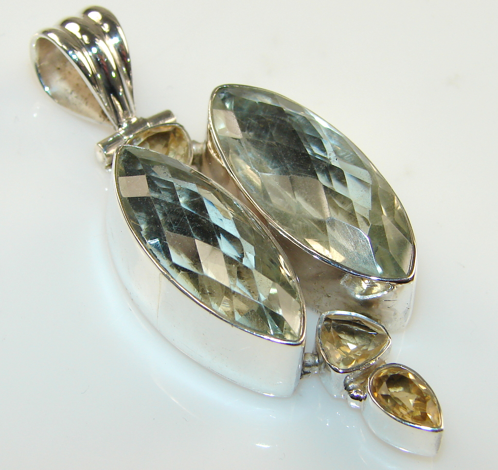 Image of Marvelous Creation Of Green Amethyst Sterling Silver Pendant