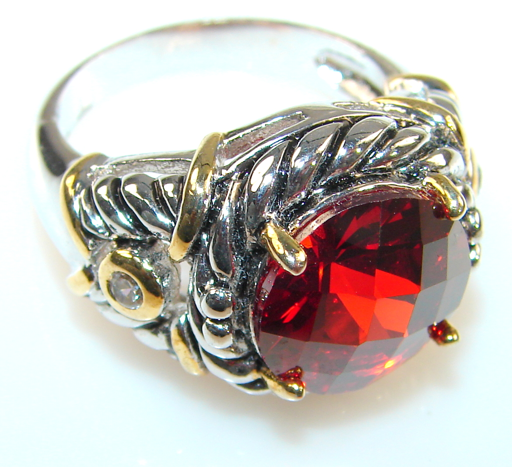 Image of Pure Beauty Of Lab. Garnet Sterling Silver Ring s. 8 1/4