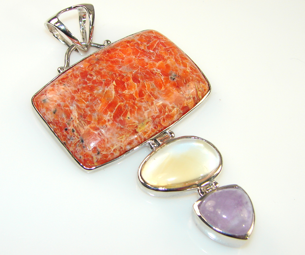 Unique Mssive Red Calcite Sterling Silver Pendant