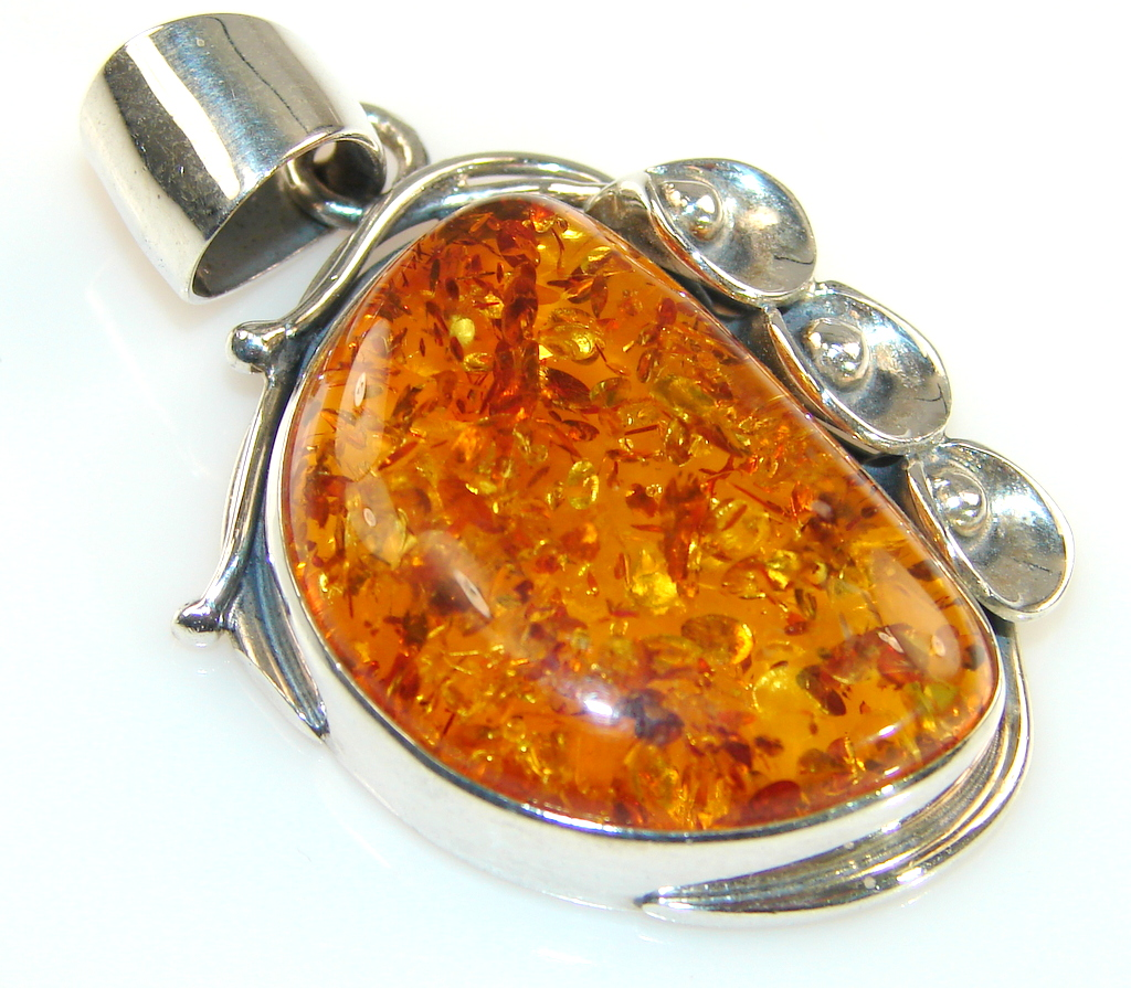 Artisan Design Of Baltic Amber Sterling Silver pendant