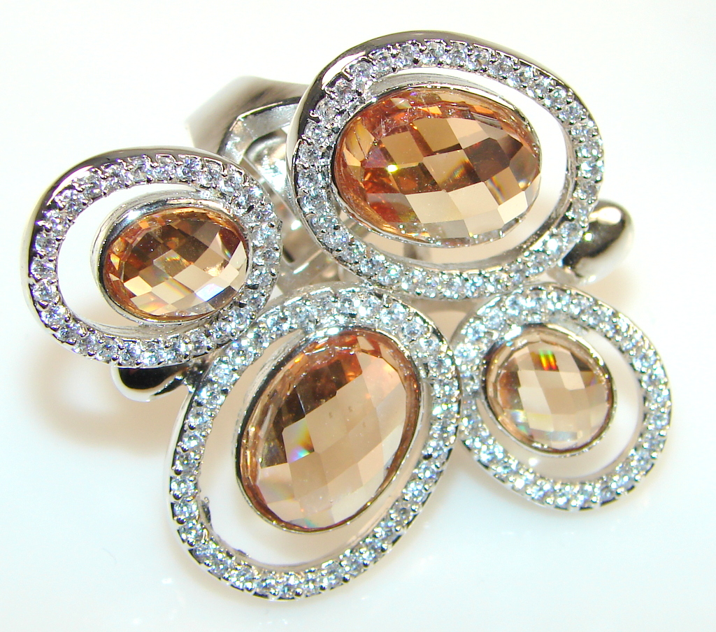 Awesome Color Of Honey Topaz Sterling Silver ring s. 6 1/2