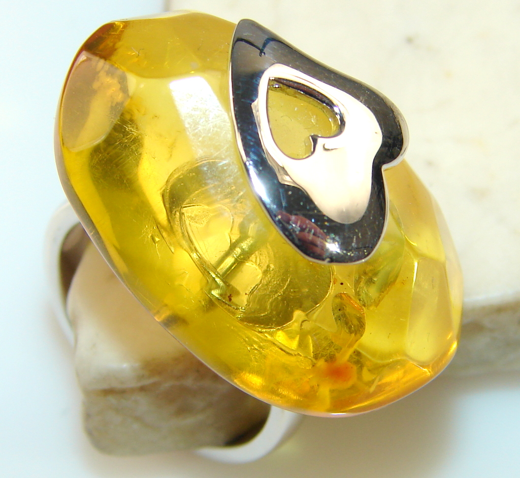 Awesome Color Of Golden Amber Sterling Silver ring s. 6 1/2