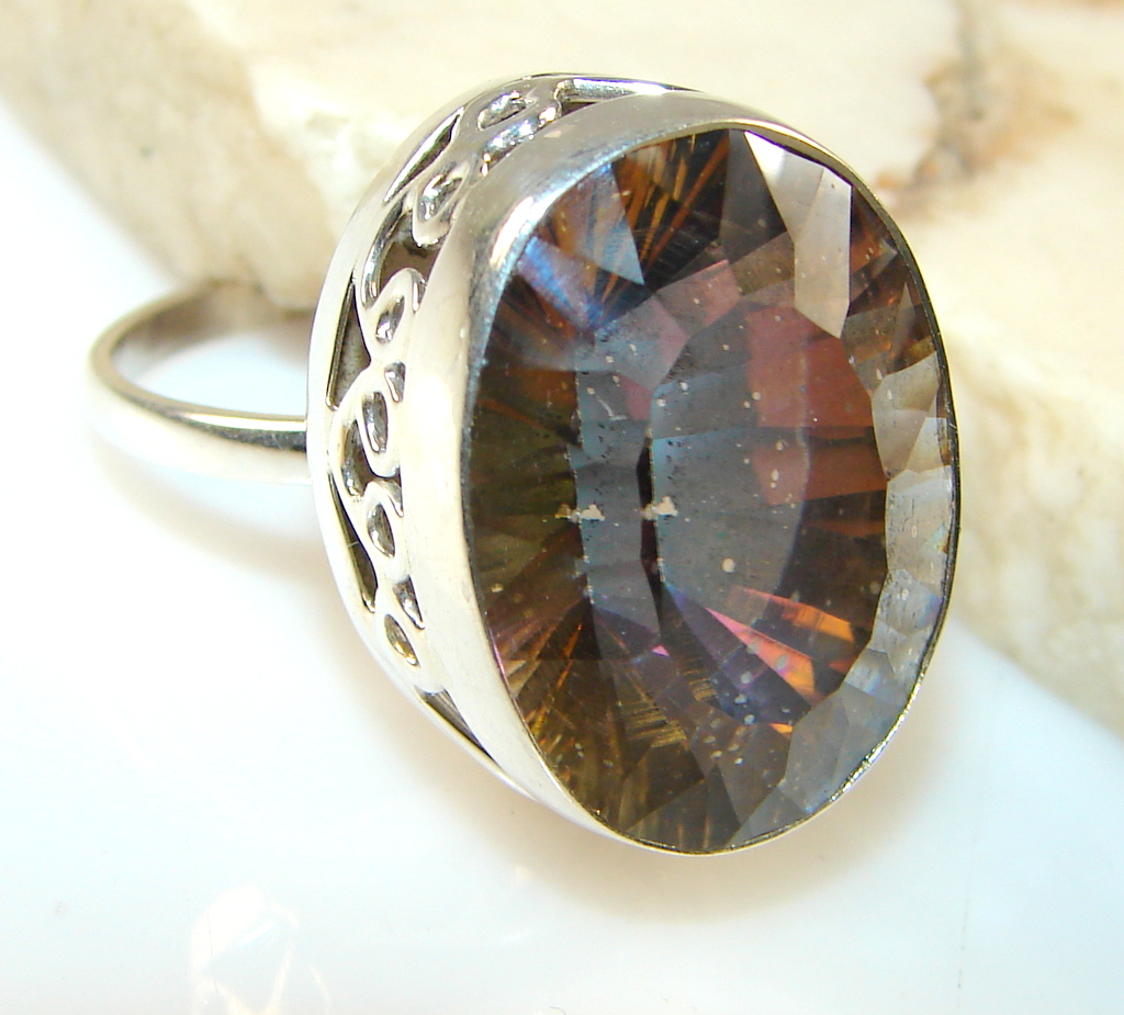 Beautiful Solid Orange Topaz Sterling Silver Ring s. 8