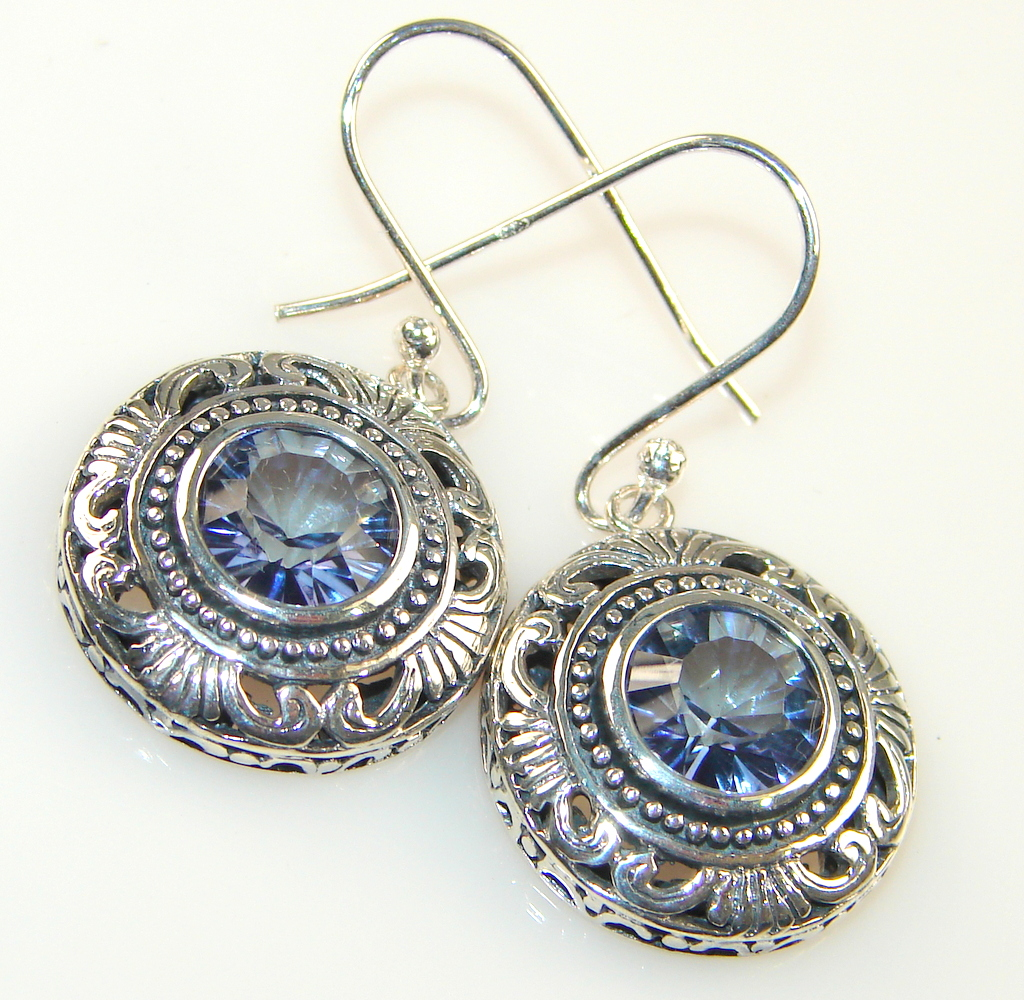 Amazing Look Of Amethyst Silver Sterling earrings