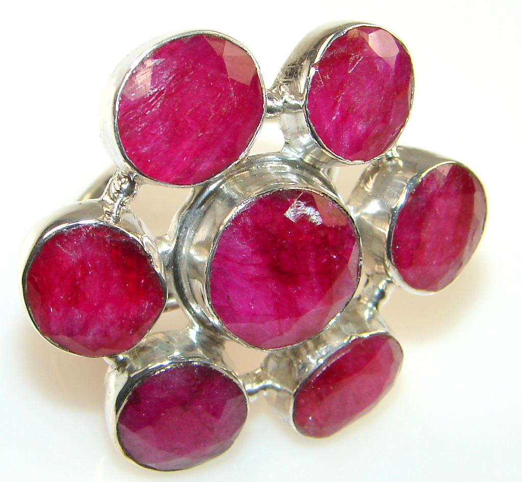 Beautiful Solid Red Ruby Sterling Silver Ring s. 10 1/4