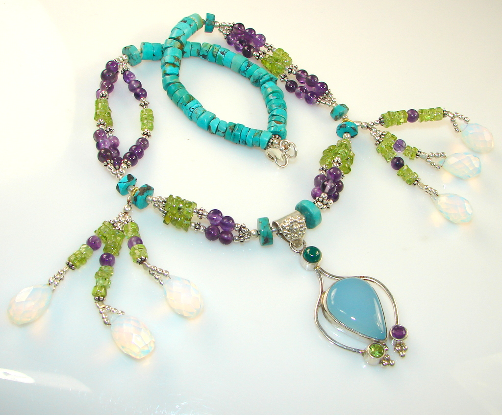 Image of Chunky Colorful Garden Multigem Sterling Silver necklace