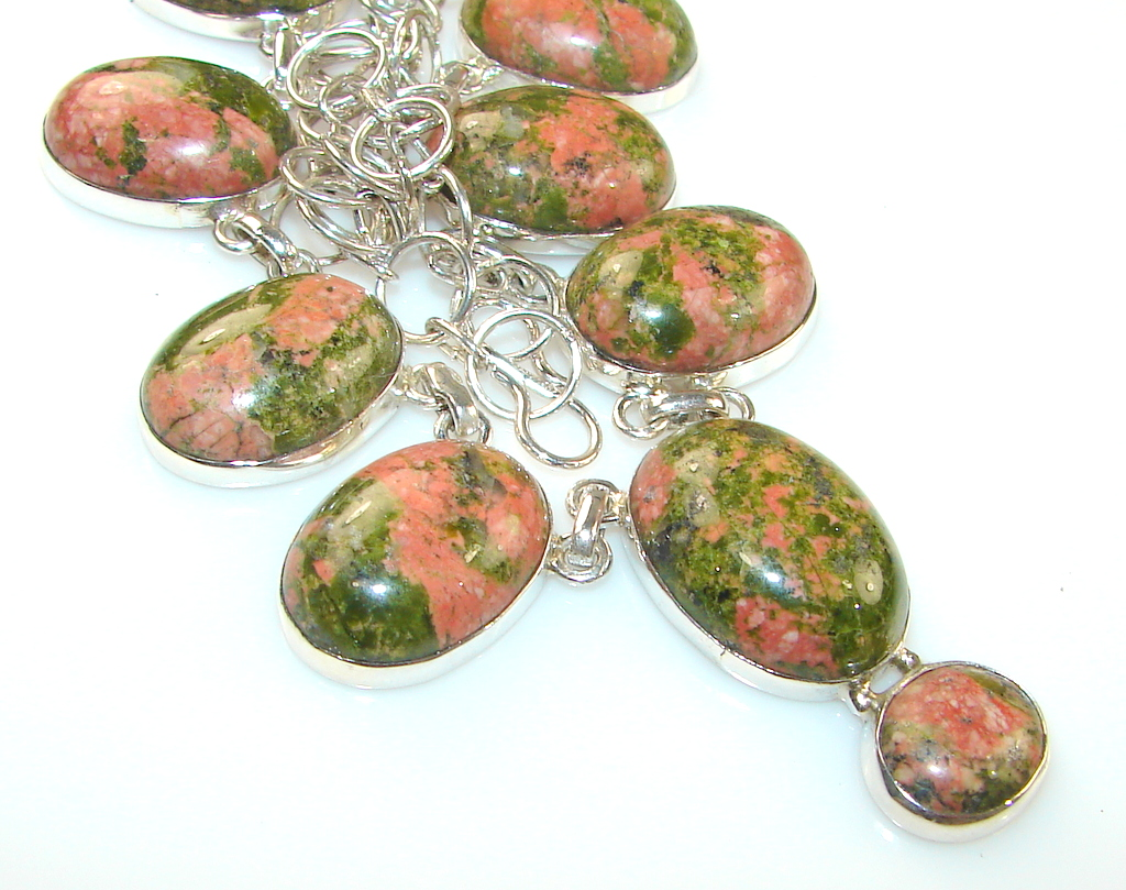 Image of Stuning Nature's Gift Of Anakite Sterling Silver necklace