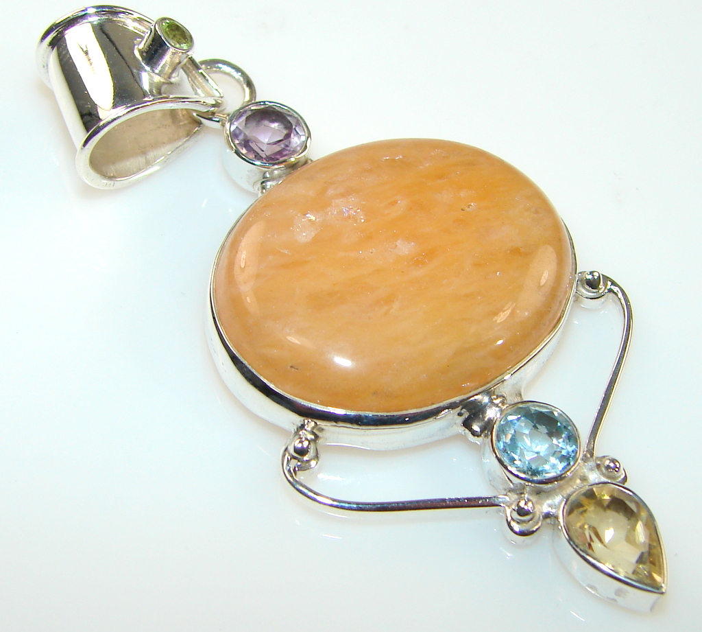Golden Honey Calcite Sterling Silver Pendant