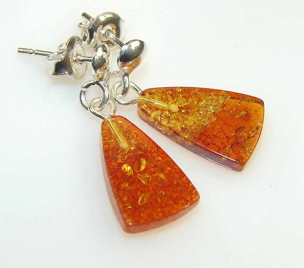 Image of Unique Golden Amber Sterling Silver earrings