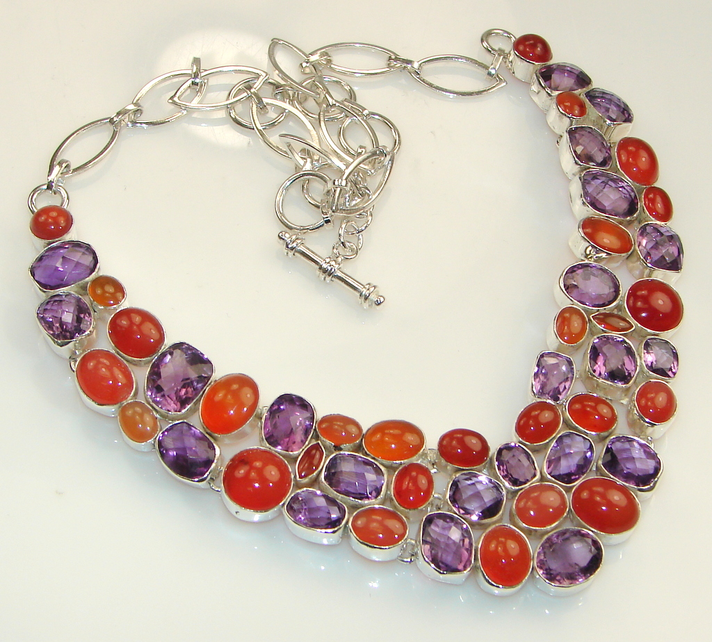 Image of Huge!! Unique Balinese Blossom Carnelian Sterling Silver necklace
