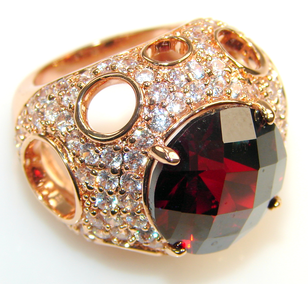Image of Stylish Gold Plated Red Garnet Sterling Silver Ring s. 5 1/4