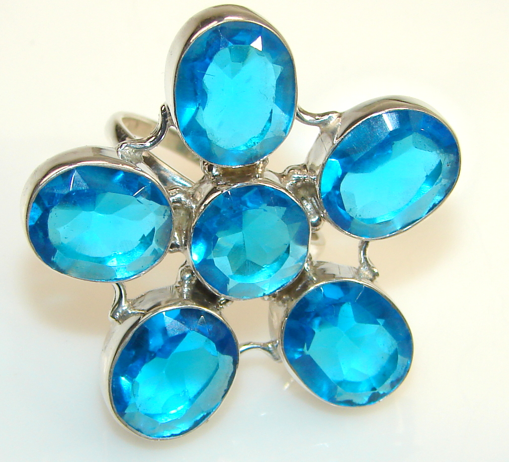 Beautiful Solid Blue Quartz Sterling Silver Ring s. 10 1/4
