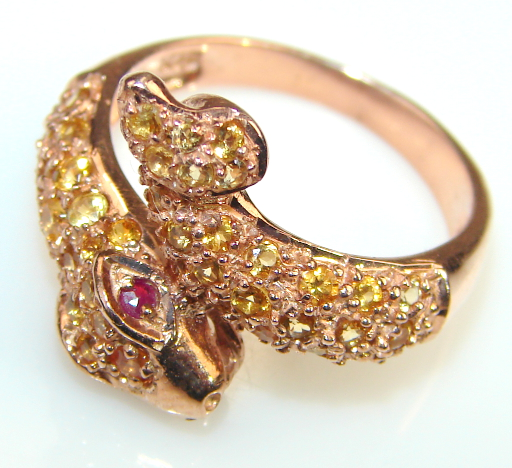 Faceted Citrine & Ruby 14K Rose Gold Plated Silver ring s. 7 1/2