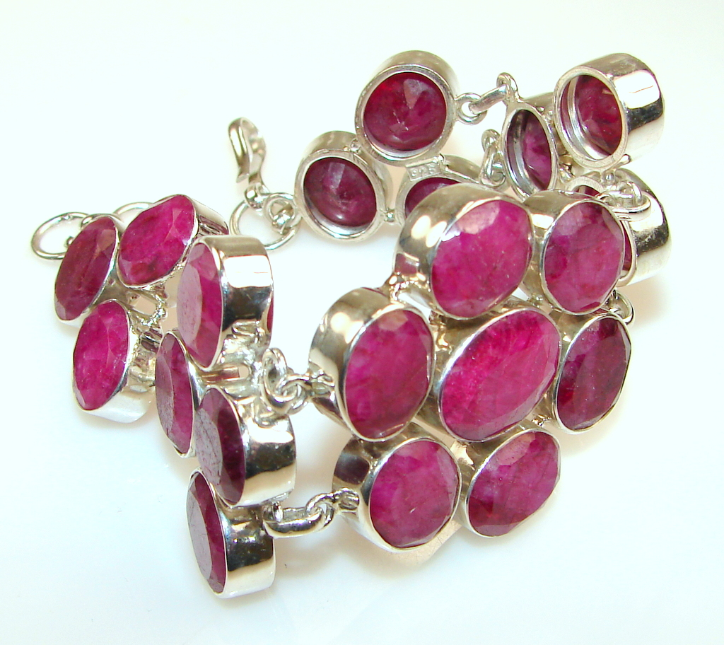 Natural Beauty Indian Ruby Sterling Silver Bracelet