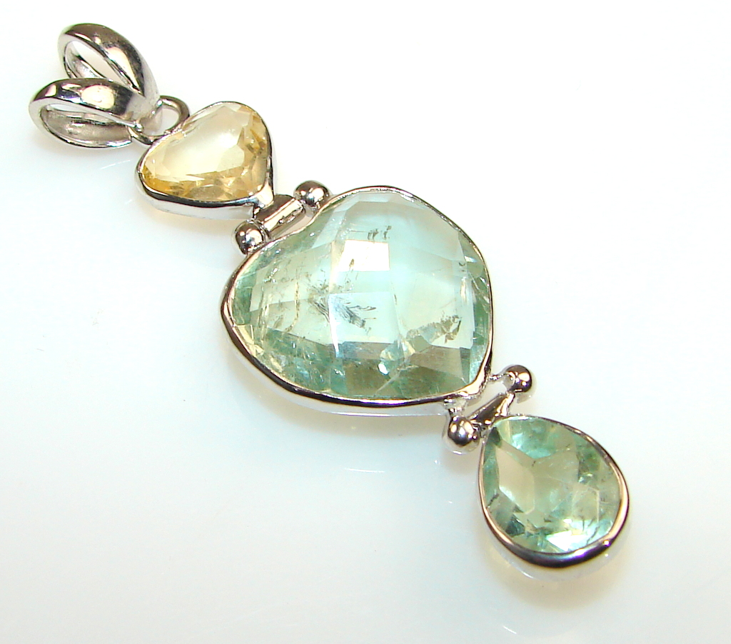 Image of Marvelous Green Amethyst Sterling Silver Pendant
