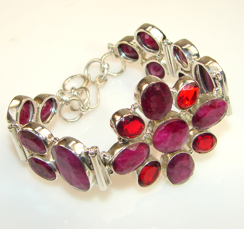Natural Beauty Kashmire Ruby Sterling Silver Bracelet