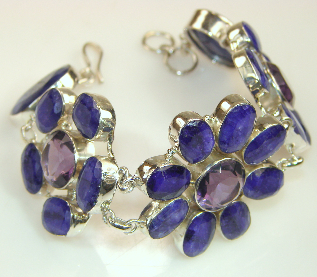 Natural Gem Top Rich Sapphire & Sterling Silver Bracelet