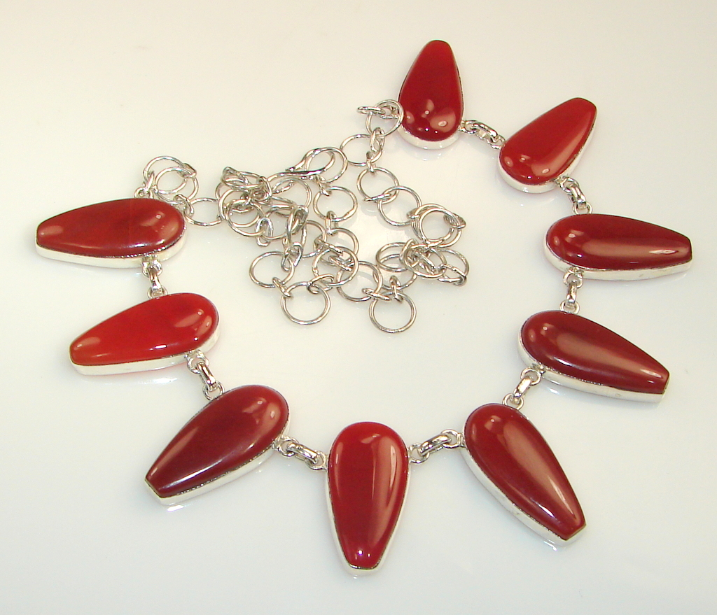Image of Huge!! Unique Carnelian Sterling Silver necklace