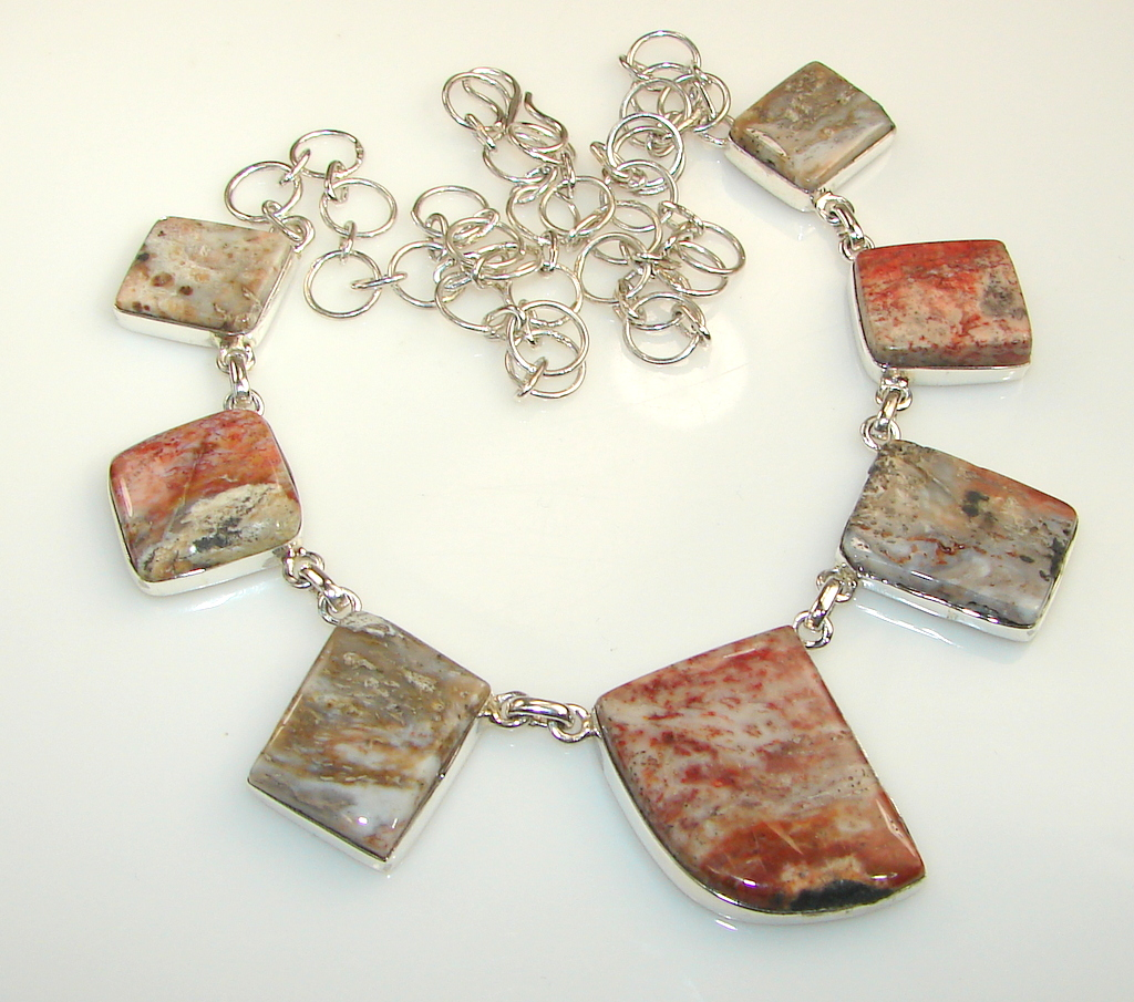 Image of Fantastic Montana Agate Sterling Silver Necklace