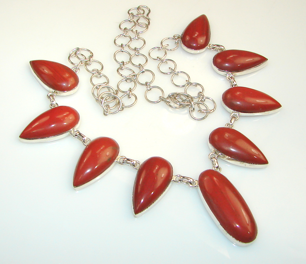 Image of Huge!! Unique Red Jasper Sterling Silver necklace