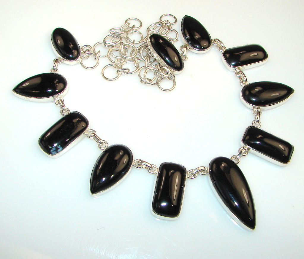 Image of Midnight Moon Black Onyx Sterling Silver necklace
