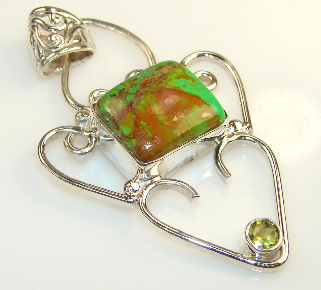 Image of Green Turquoise Sterling Silver Pendant