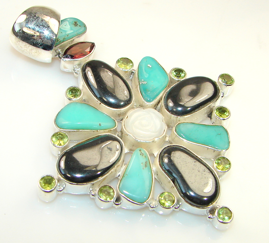 Giant Magnificent Flower Hematite sterling Silver Pendant