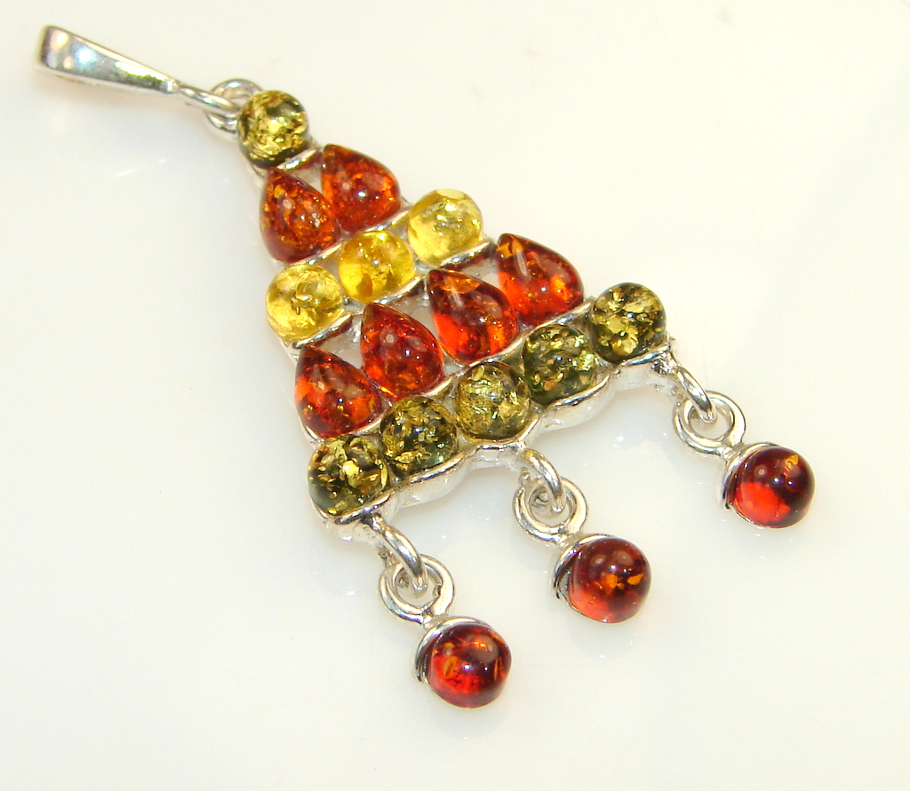 Beautiful Tample Of Light Polish Amber Sterling Silver Pendant