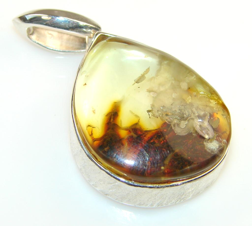 Beautiful Polish Amber Sterling Silver Pendant