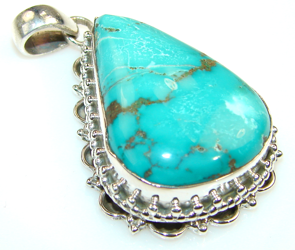 ' Crimson Mantra ' Green Turquoise Sterling Silver Pendant
