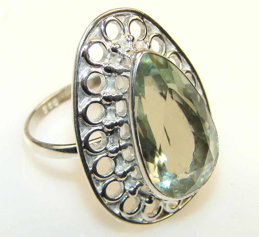 ' Rainforest Dew ' Green Amethyst Sterling Silver ring s. 9 1/4