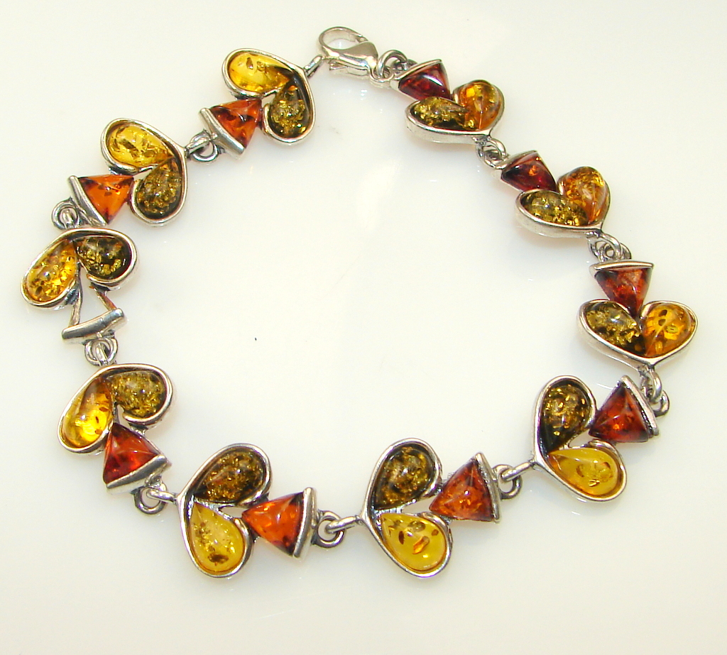 ' Solitaire Sun ' Polish Amber Sterling Silver Bracelet