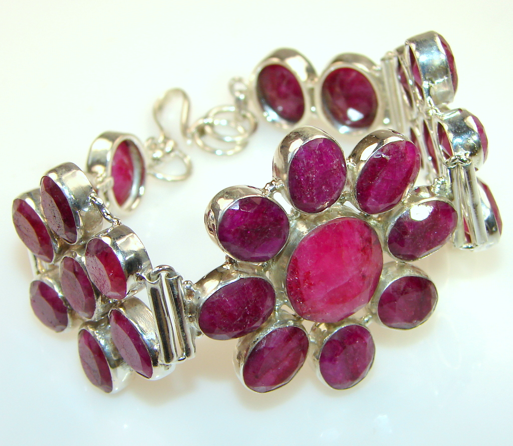 Beautiful Ruby & Sterling Silver Bracelet