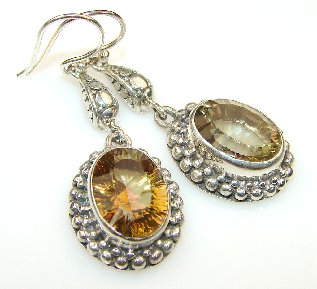 56ct. Precious Golden Citrine Silver earrings