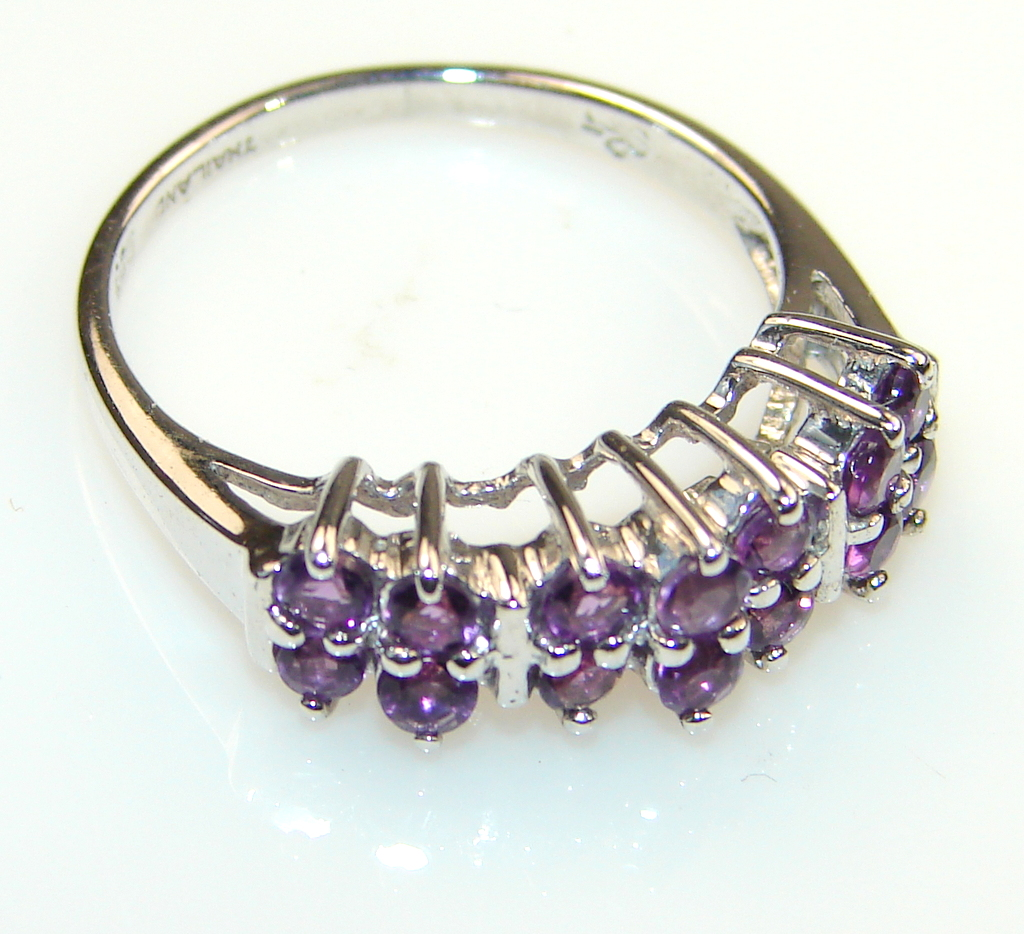 Franqipani Queen Amethyst  Sterling Silver Cocktail ring s. 8