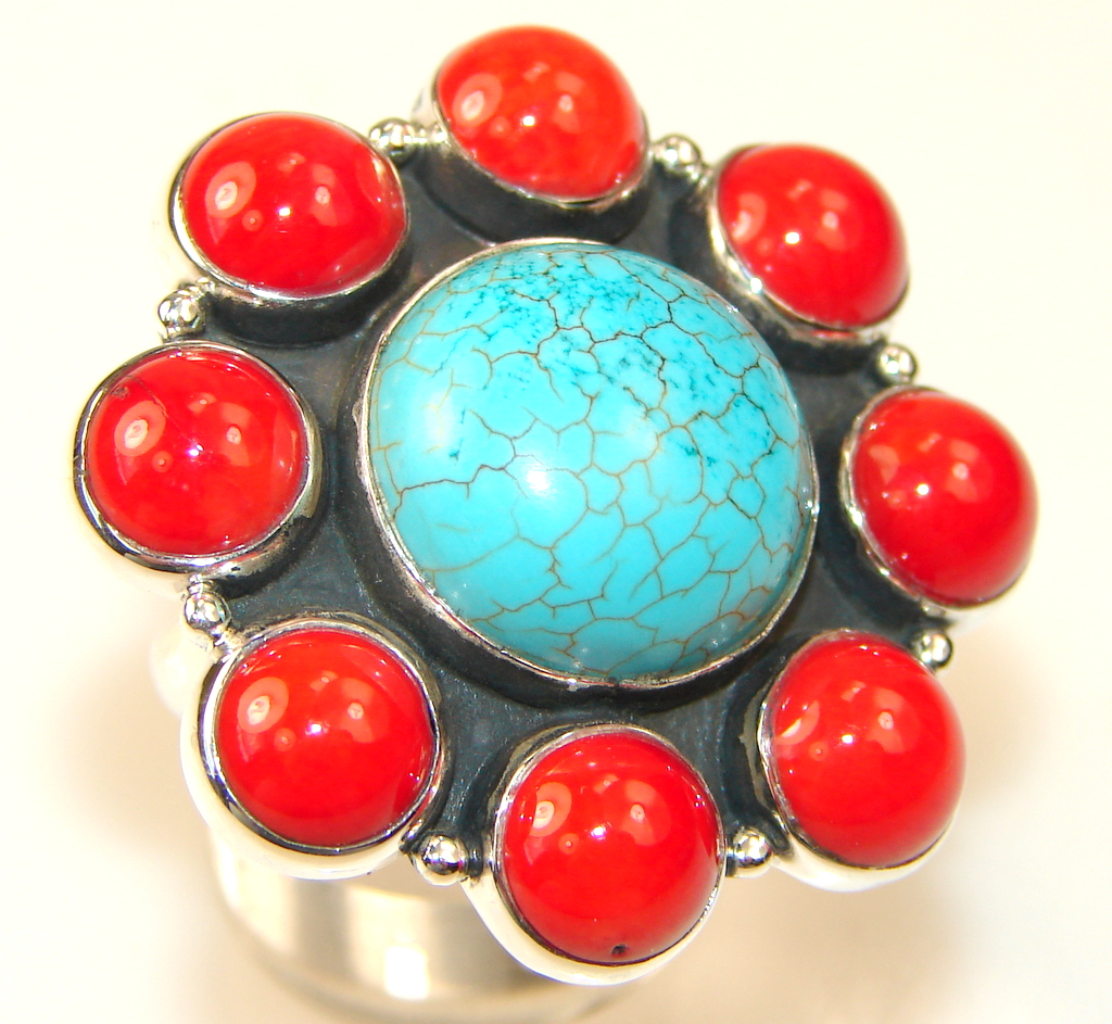 Natural Beauty Turquoise Sterling Silver Ring s. 9 1/4