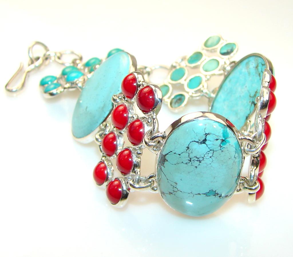 Azure Fruit Turquoise Sterling Silver Bracelet