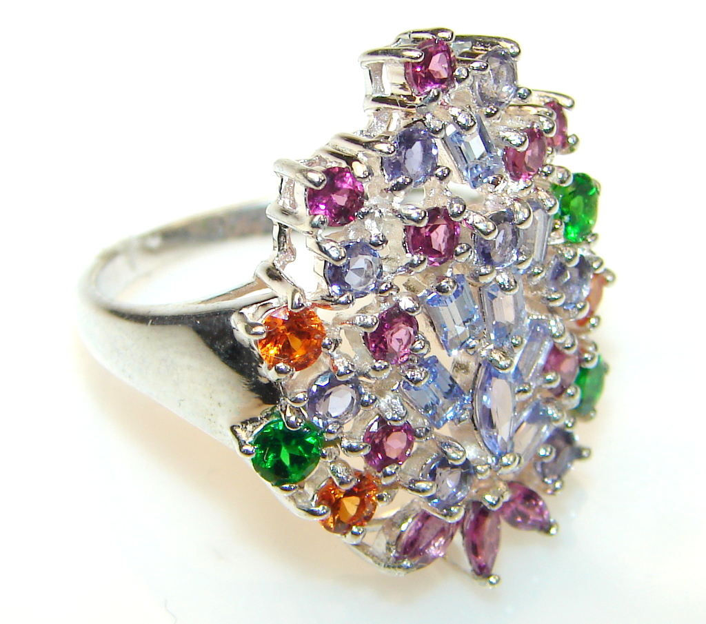 Mystical multicolor Sapphire Sterling Silver Ring s. 8 1/2