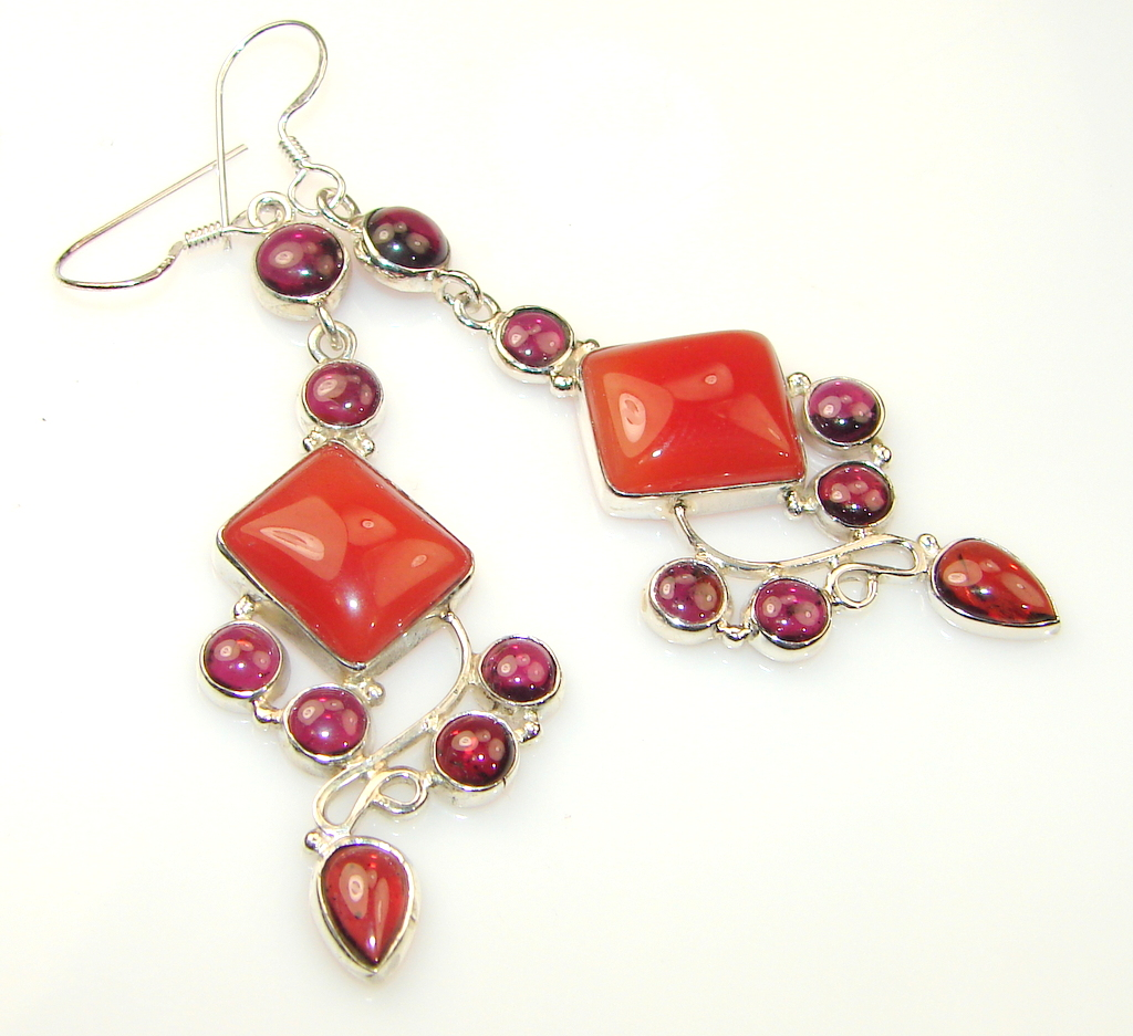Excellent Carnelian Sterling Silver earrings