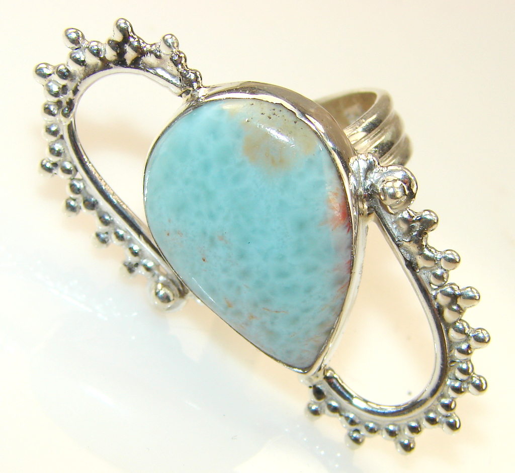 Perfect Blue Larimar Sterling Silver Ring s. 8