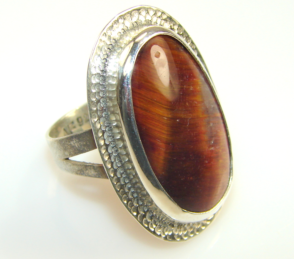 awesome tigers eye sterling silver ring s 6 3 4