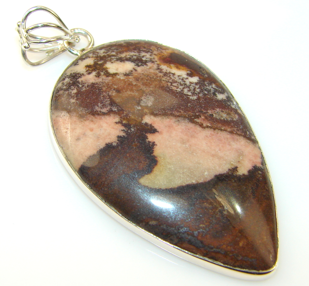 Awesome Color Of Nugat Jasper Silver Pendant