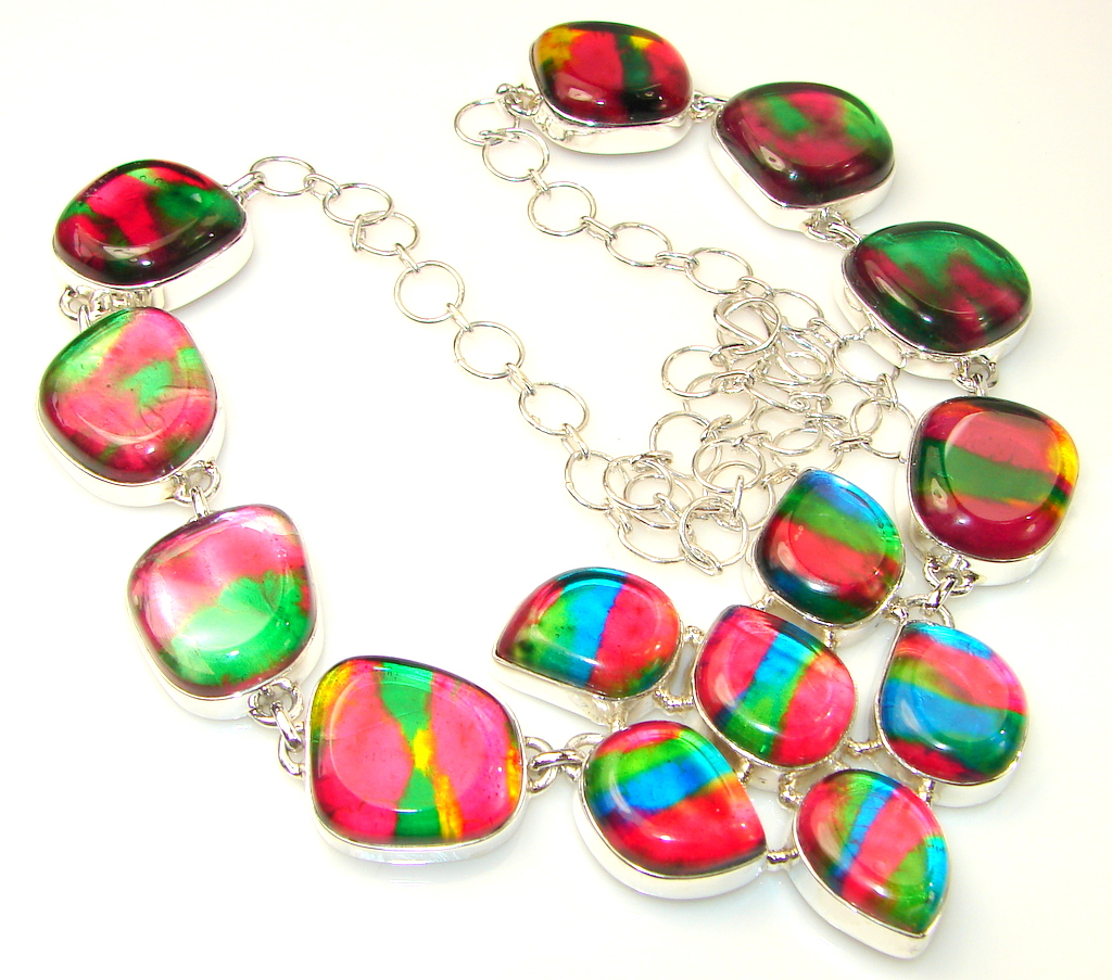 Summer Style Dichroic Glass Sterling Silver necklace