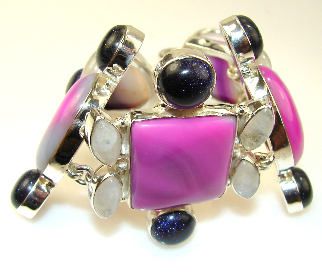 Image of Duality In Pink Botswana Agate Sterling Silver Bracelet