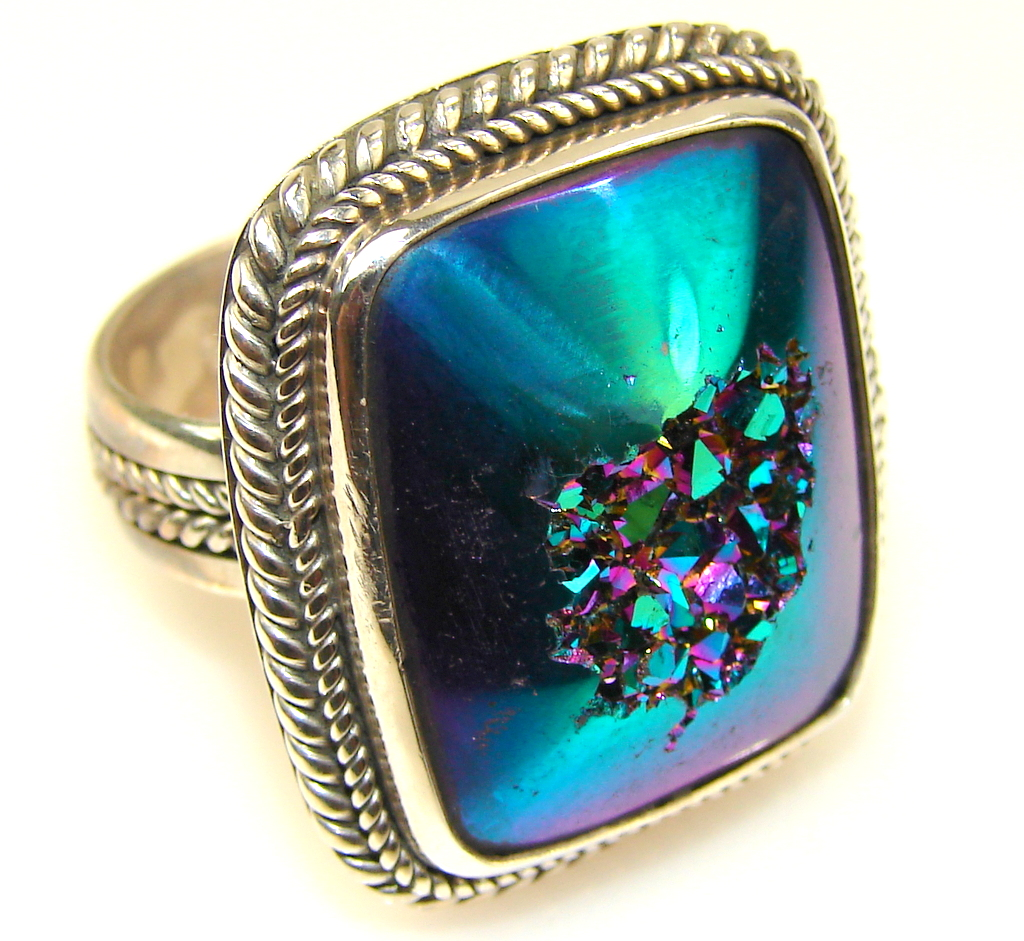 Image of Mysterious Titanum Druzy Sterling Silver ring s. 10