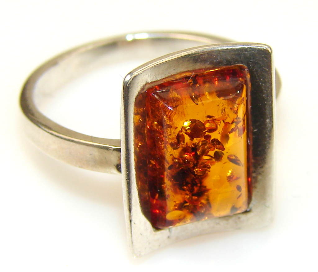 Image of New Life Polish Amber Sterling Silver Ring s. 7 1/2