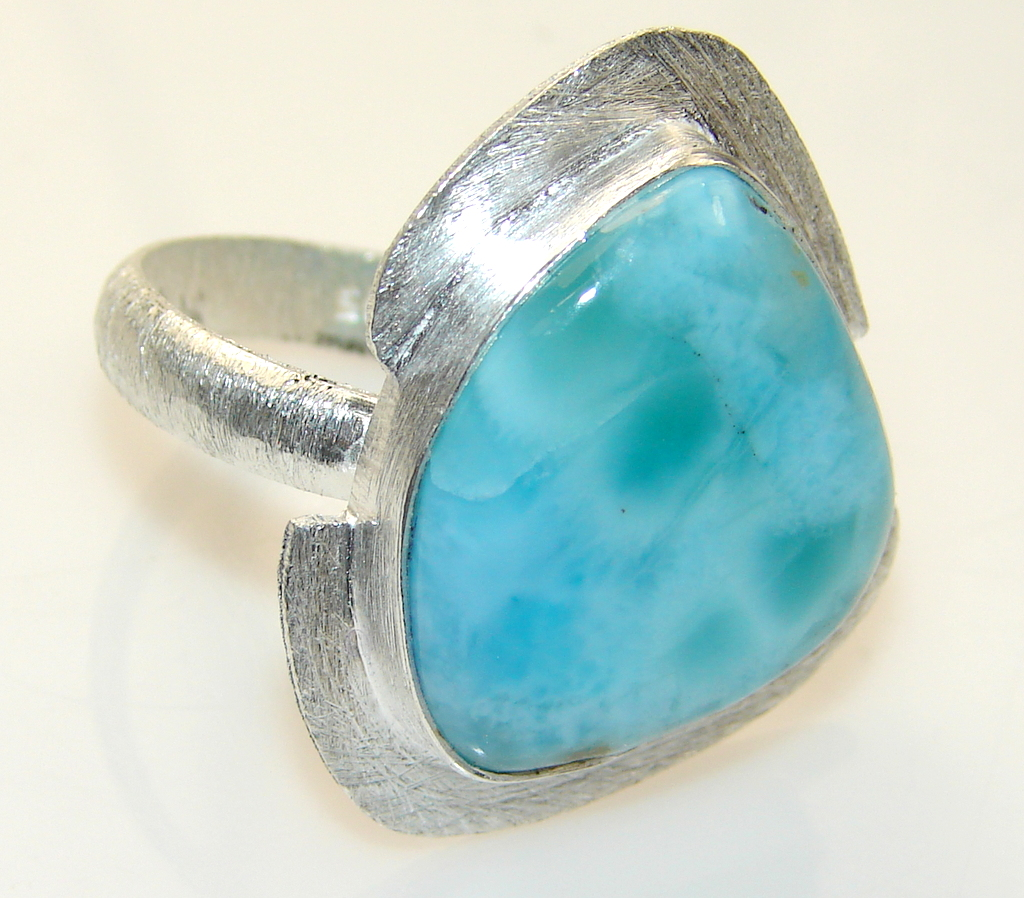 Sweet Blue Larimar Sterling Silver Ring s. 10 3/4