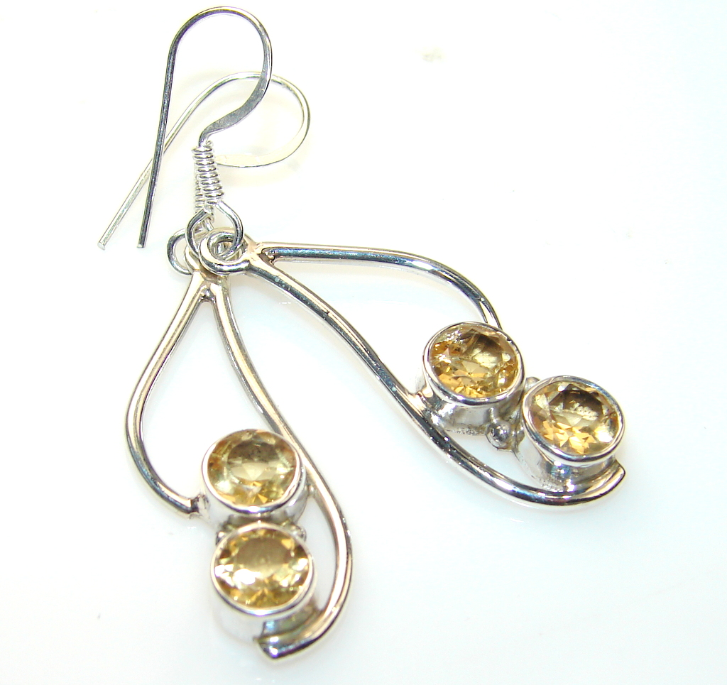 Chennai Sun Citrine Sterling Silver Earrings