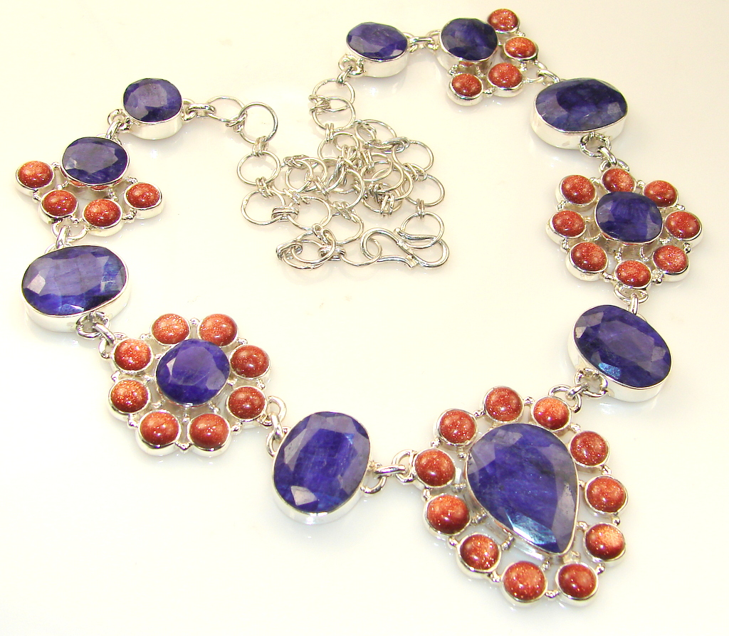 Awesome Color Of Sapphire Sterling Silver necklace